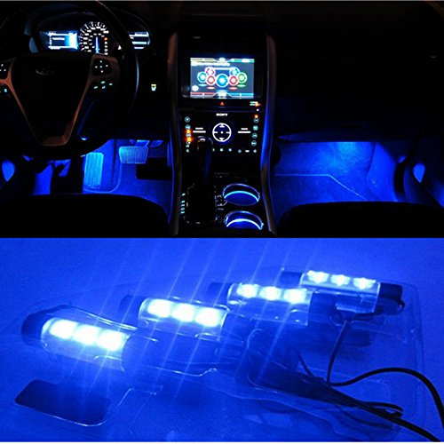 BreaDeep 4X3 LED Atmosphere Lights 12V Car Auto Interior Decorative 4in1 Lamp Blue (Inside Led Lights For Cars compare prices)