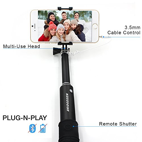 selfie stick bridgegen foldable extendable self portrait aluminum monopod wired selfie stick. Black Bedroom Furniture Sets. Home Design Ideas