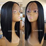 Coolgirl Short Bob Hair Synthetic Lace Front Wigs Heat Resistant Synthetic Wigs with Baby Hair for Women