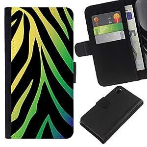KingStore / Leather Etui en cuir / Sony Xperia Z3 D6603 / Patrón de neón de la cebra