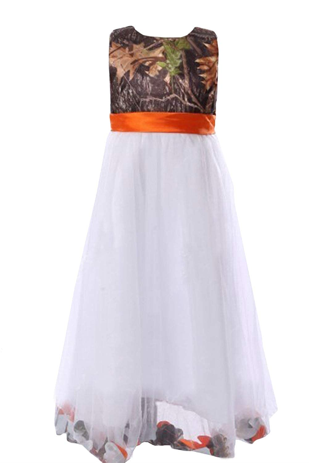 343efe7361ab1 Amazon.com: DINGZAN Camo and White Tulle Flower Girl Dress Mini Junior  Bridesmaid Gowns: Clothing