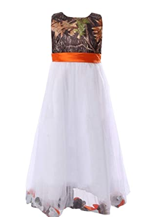 7660914648fe0 Amazon.com: DINGZAN Camo and White Tulle Flower Girl Dress Mini Junior  Bridesmaid Gowns: Clothing