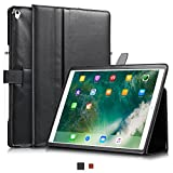KAVAJ iPad Pro 12.9' Case Leather Cover London for Apple iPad Pro 12,9' (2017) Black Genuine Cowhide Leather with Pencil Holder Built-in Stand Auto Wake/Sleep Function Slim Fit Smart Folio covers