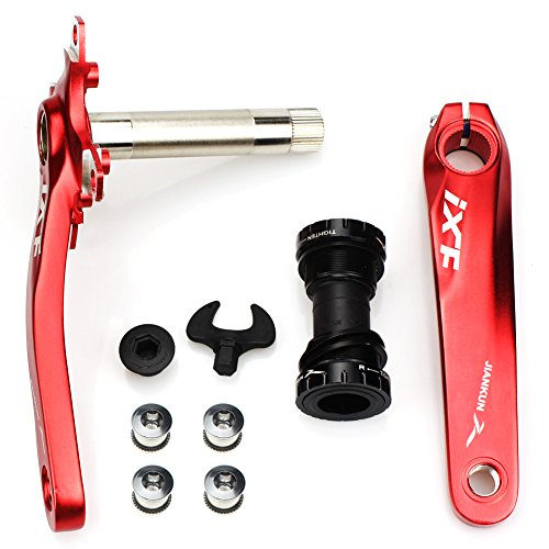 Bike Crank Arm Set CYSKY Mountain Bike Crank Arm Set 170mm 104 BCD with Bottom Bracket Kit and Chainring Bolts for MTB BMX Road Bicyle, Compatible with Shimano, FSA, Gaint (Black/Red) (Red)