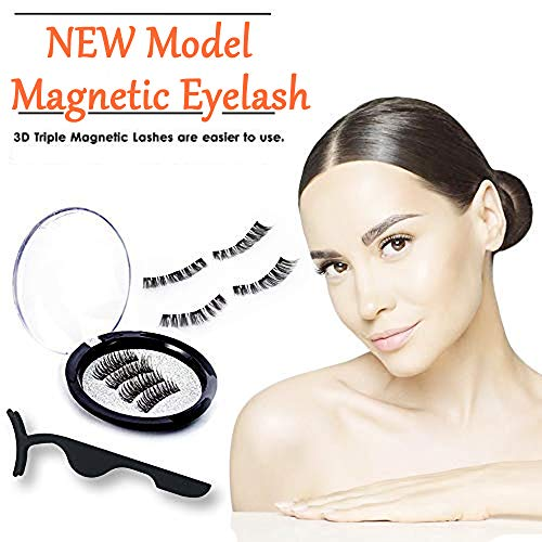 Slature Magnetic False Eyelashes No Glue, Triple Magnets Fake Lashes Extensions, 3D Full Eyes Reusable Natural False Lashes - 2018 (4 PCS/1 Pair + 1 Tweezers)