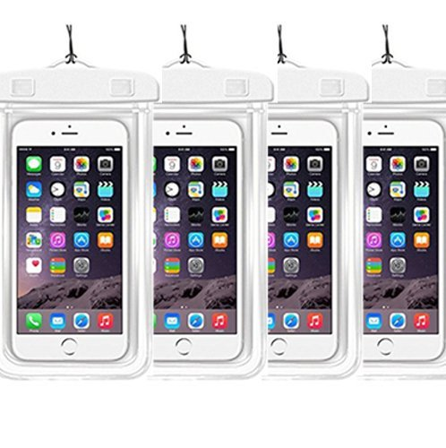 [4Ppack] Waterproof Pouch Dry Bag Case with Strap Easy Fitting Sports Cases Cover Scratch-Resistant Slim-Light-Weight Transparent Covers Submersible (Waterproof Case White 4pack) Bristol Bay 1 Light