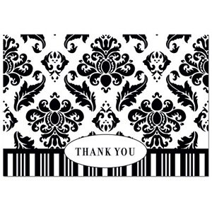 Black and White Damask Patterned Thank You Cards and White Envelopes - box of (Damask Favor Cards)