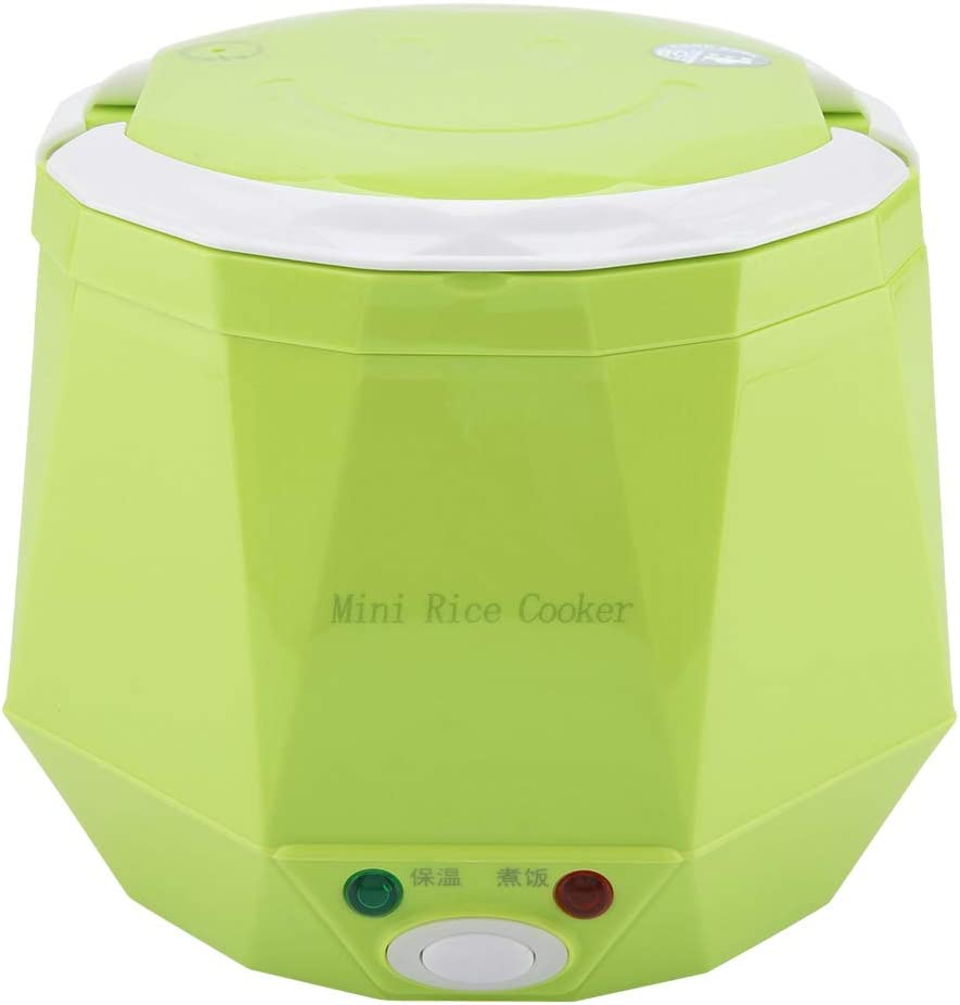 2 Cup Mini Rice Cooker Steamer 12V 100W 1.3L Portable Rice Cooker Multifunction Food Steamer for Cars (Green)