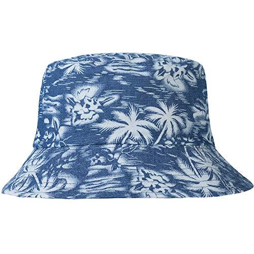 ZLYC Unisex Cute Print Bucket Hat Summer Fisherman Cap (Palm Tree Blue)