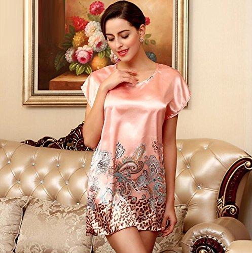 LJ&L La Sra casa de verano de ocio sueltos pijamas camisón de manga corta falda de baño atractivo sección delgada,A2,one size B1