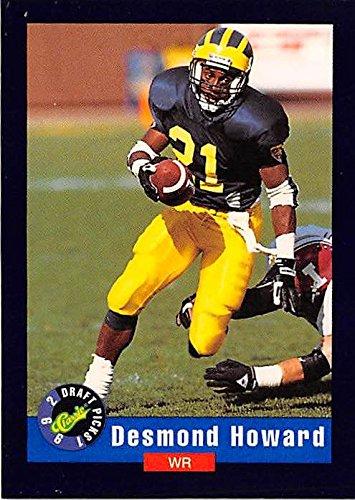 Desmond Howard football card (Michigan Wolverines College) 1992 Classic Draft Picks #1 Rookie (1992 Classic Draft)