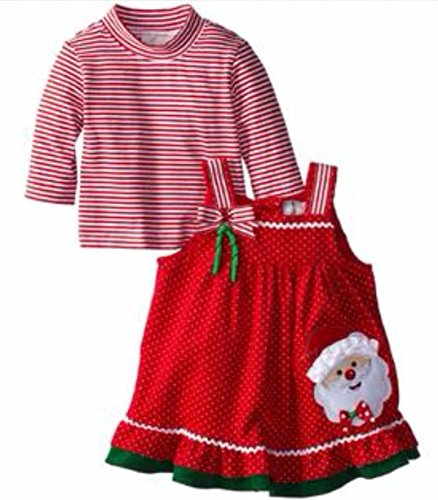 (Rare Editions Little Toddler Girls' Santa Applique Corduroy Jumper (3T))