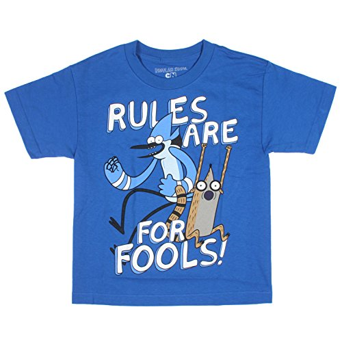Regular Show Boys Rules Are For Fools T-shirt (Royal Blue ,18)