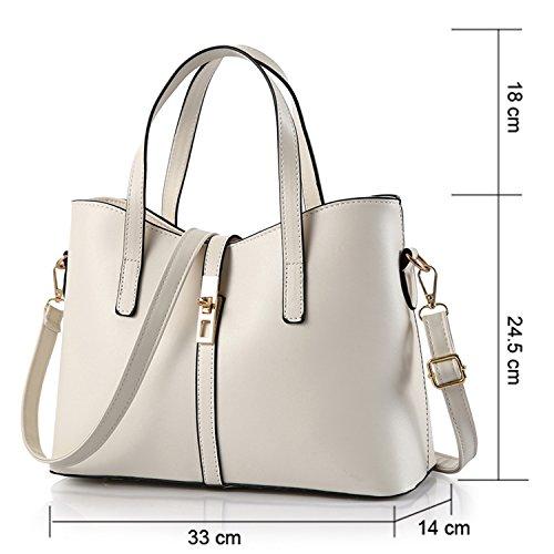 Young & Ming - Color puro Cuero Mujeres Handbag Bolsos de mano Totes Bolsos bandolera Women handbag Blanco