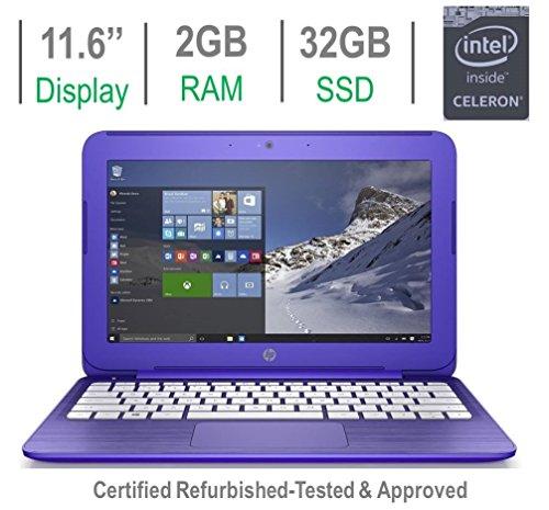 HP Stream 11.6-inch HD Laptop PC, Intel Celeron N3050 1.6GHz Processor, 2GB DDR3L RAM, 32GB SSD, Bluetooth, HDMI, Webcam, WiFi, DTS Studio Sound Windows 10-Purple (Certified Refurbished)