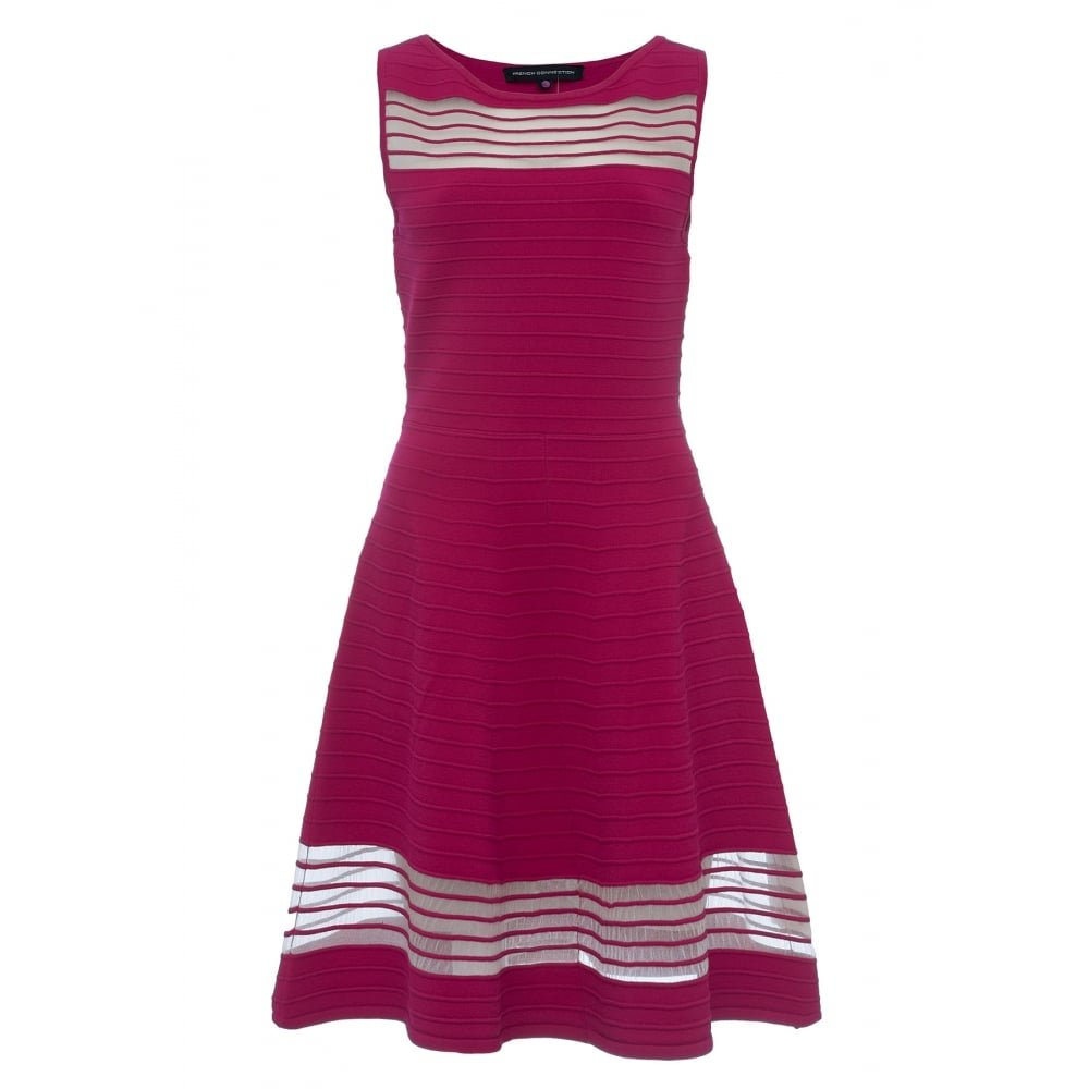 French Connection Tobey Crepe Knits S/LS FLR Womens Long Dress UK14 EU42 US10 Summer Rouge