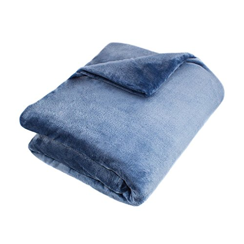 (Single Piece King Denim Blanket, Machine Washable, Solid Color Pattern, Contemporary and Classic Style, Warm and Comfortable, Lightweight, 100-Percent Polyester Material, Sky Blue, Turquoise, Teal)
