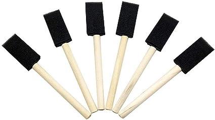 Lot de 4 pinceaux en mousse avec manche en bois pour peinture et dessin