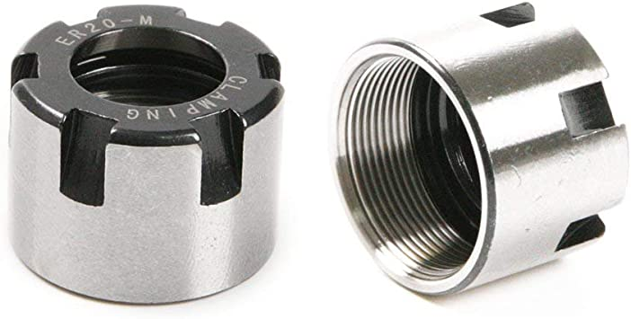 2 x ER20 M Type Collet Clamping Nut Chuck Holder ER20M for CNC Milling Lathe