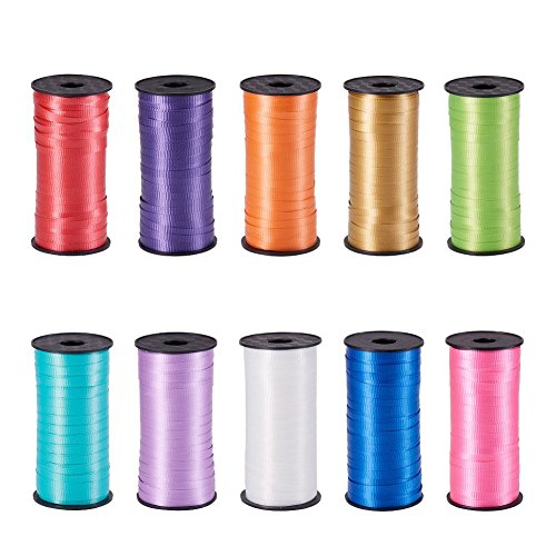 NBEADS 10 Rolls 5mm 100 Yards/Roll Mixed Colors Crimped Curling Ribbon Roll, Balloon String Party Festival Decoration, Crafts Gift Wrapping ()