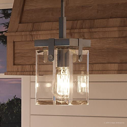 Luxury Modern Farmhouse Pendant Light, Small Size 11.875 H x 6.5 W, with Industrial Chic Style Elements, Brushed Nickel Finish and Clear Shade, UHP2447 from The Bristol Collection by Urban Ambiance
