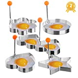 Fried Egg Ring, Fried Egg Mold,MayPal 5PCS Different Shapes Stainless Steel Fried Egg Ring Set Pancake Mold Cooking Kitchen Tool With a Stay Cool Hood Handle