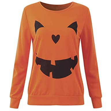 e37c97c5 Women Long Sleeve Sweatshirts for Women T-Shirts Halloween Pumpkin Print  Casual Blouse Tops Bottom Shirts at Amazon Women's Clothing store: