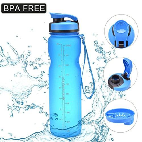 bottle, 36oz/1L Drinking Bottle BPA Free-Flip Top Leak Proof-Non-Toxic & Eco-Friendly - One Click Open for Outdoor & Gym Sport(Blue) ()