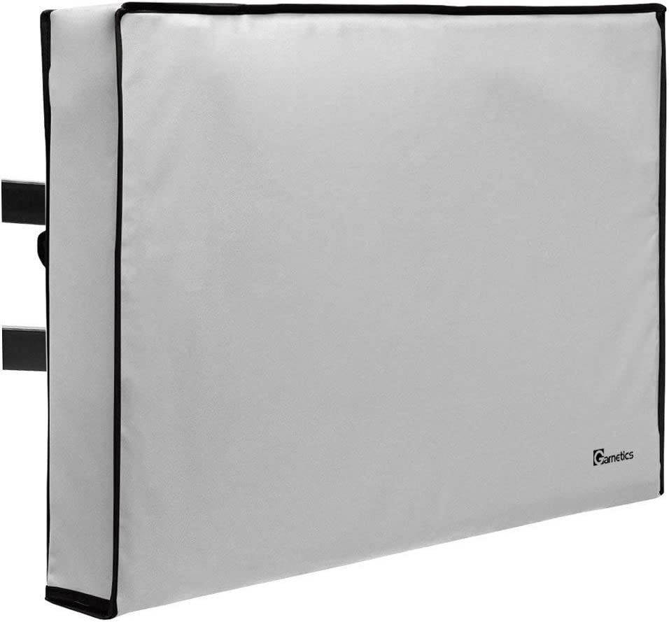 "Garnetics Outdoor TV Cover 60""-65"" inch - Universal Weatherproof Protector for Flat Screen TVs - Fits Most TV Mounts and Stands - Grey"