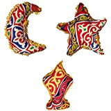 Set of Ramadan Stuffed Crescent, Lantern and Star Khayameya Fabric