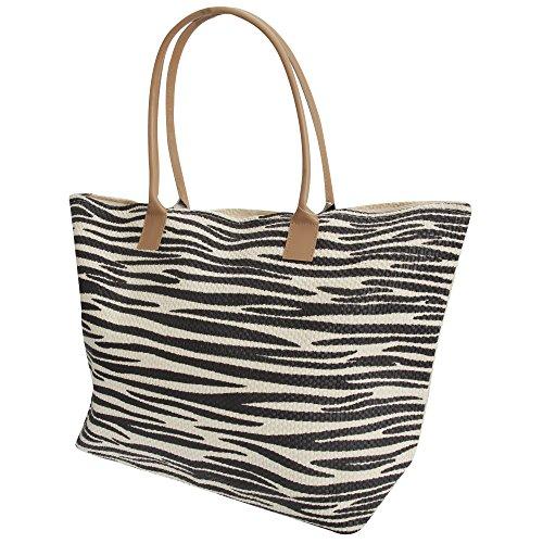 FLOSO Womens/Ladies Animal Print Woven Summer Handbag (One Size) (Zebra)