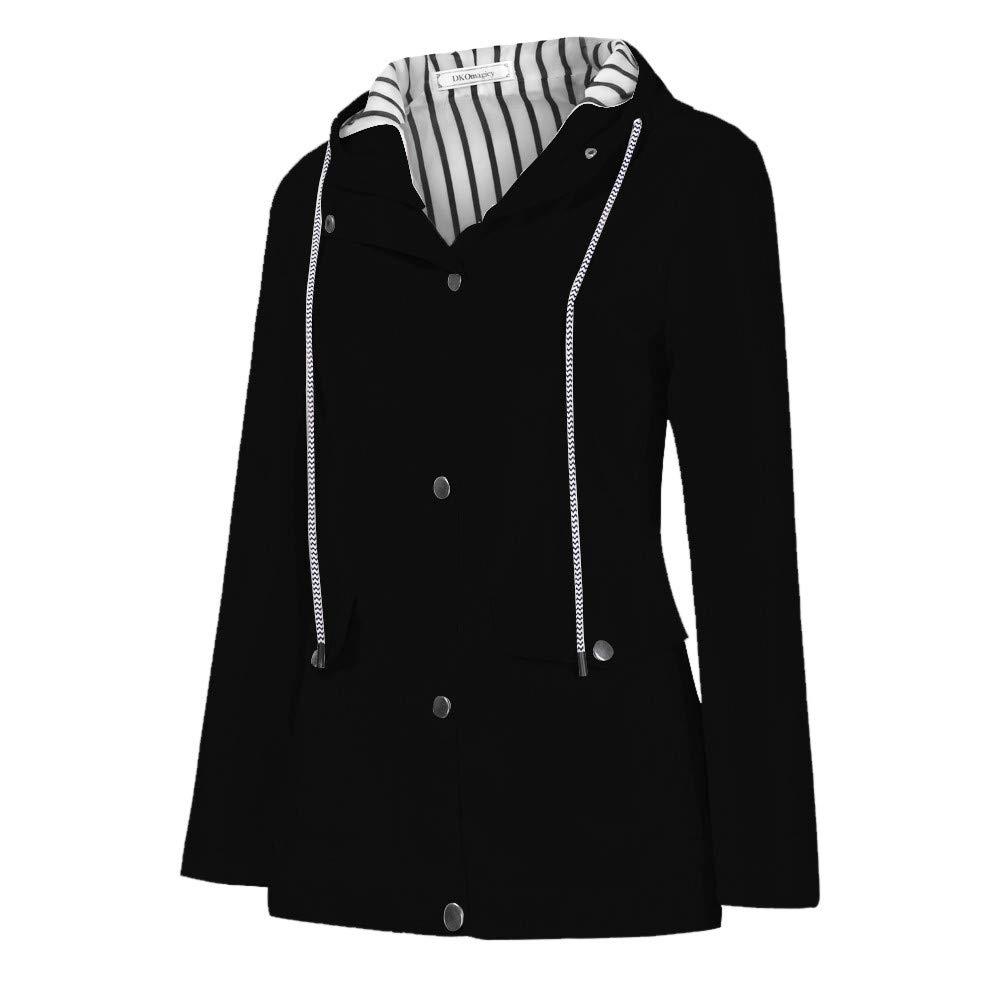 Women Waterproof Coat Solid Rain Jacket Outdoor Hoodie Long Coat Overcoat Windproof (Black2, XXXXL)