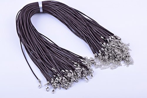 KONMAY 100pcs Brown Real Leather Necklace Cord 2.0mm/17'' with Extension Chain Lead&nickel Free 17' Leather Cord