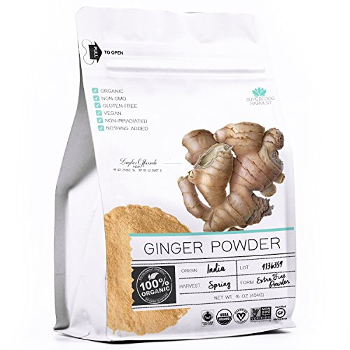Organic Ginger Powder by Superfood Harvest - 1 Pound - 100% USDA Organic, Certified Non GMO, Grade AAA Highest Quality