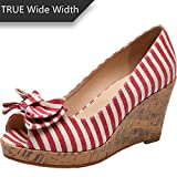 Luoika Women's Wide Width Wedge Shoes - Plus Size Heel Pump w/Round Closed Toe Bow tie Memory Foam Insole.(180311,Red Line,10WW)