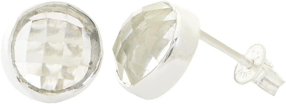 ERCE cristal de roca piedra semipreciosa pendientes redondos, plata de ley 925, diámetro 11 mm