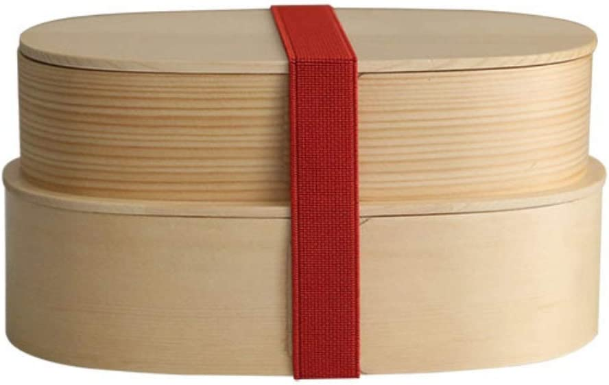 GONGFF Lunch Box Wooden Double-Layer Sushi Box Picnic Box Portable Fruit Snack Box (Color : Primary Color)
