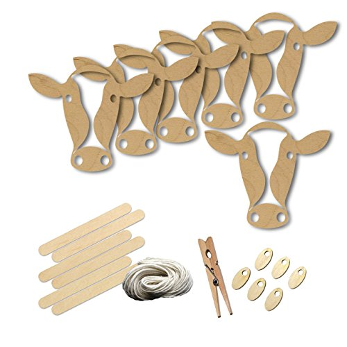Cow Animal Barn Farm Livestock Style 8901, Wood Shape Craft Kit, 4 Inch Size Kids Project Kit, Great Party, School and DIY