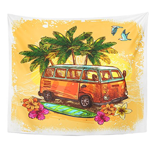 TOMPOP Tapestry Van Surf Hippy Style Vintage Old Bus with Surfboard Flowers and Palm Sketch Color Rasta Hippie Home Decor Wall Hanging for Living Room Bedroom Dorm 50x60 Inches (Van Hippy)