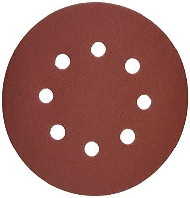 Bosch SR5R322 Random Orbit Sander Hook and Loop 8 Hole Disc 5-Inch 320 Grit Sand Paper, Red, 25-Pack