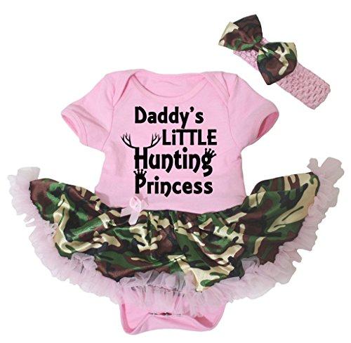 Petitebella Daddy's Little Hunting Princess Pink Bodysuit Camouflage Tutu Nb-18m (3-6 ()