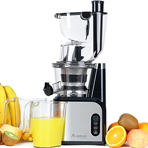 Aobosi Big Mouth Whole Slow Masticating Juicer,Wide Chute Anti-Oxidation Juicer Extractor,Energy Saving 200W DC Heavy Duty Motor with Juice Jug and Cleaning Brush by Aobosi