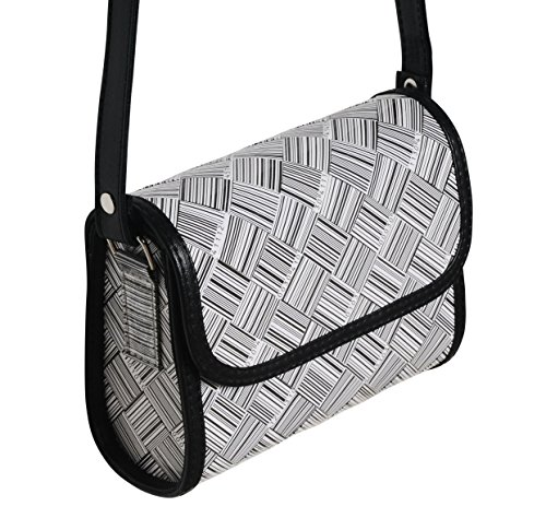 Small crossbody made from UPC codes - FREE SHIPPING, upcycled style eco friendly vegan recycled of reclaimed materials repurposed barcode gift gifts for fashion lovers chic stylish handbag bags sling