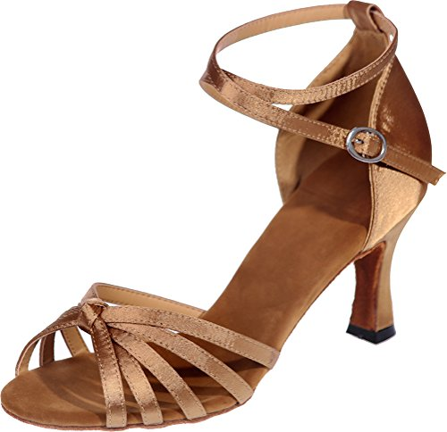 CFP Ladies Comfort Beginner Latin Dance Shoes Tango Cha-Cha Swing Ballroom Party Bride Practice Sudue Sole 3IN Ankle Straps Peep Toe Satin Brown