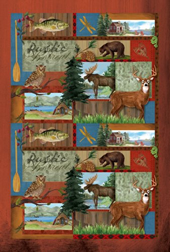 Toland Home Garden Rustic Retreat 28 x 40 Inch Decorative Outdoors Forest Animal Deer Bear Fish House - Bear Flag Decorative