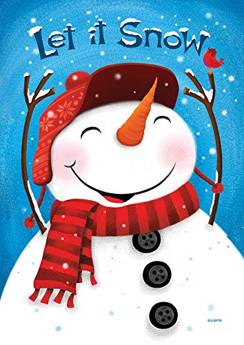 Toland Home Garden 1012273 Smiling Snowman House Flag (28 x 40-Inch), Winter Let it Snow, Multi