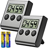 Costech Digital Kitchen Timer 2 Pack, Stainless Steel Shell; Large Digits Display; Loud
