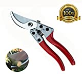 Tosman Garden Trimmer Bypass Pruning Shears Extra Sharp Clippers 8-inch Automatically Unlock Less Effort Best Garden Tools for, Cutting Flowers, Branches, Bush Shrub & Hedge.