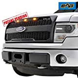 EAG F150 Replacement Upper Grille ABS Mesh Grill for 09-14 Ford F150 - Matte Black - With Amber LED Lights and Ford Emblem Housing