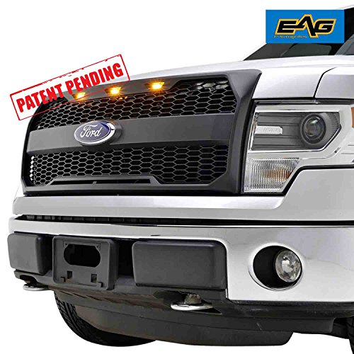 - EAG Replacement Upper Grille ABS Mesh Front Grill Fit for 09-14 Ford F-150 - Matte Black - with Amber LED Lights and Ford Emblem Housing